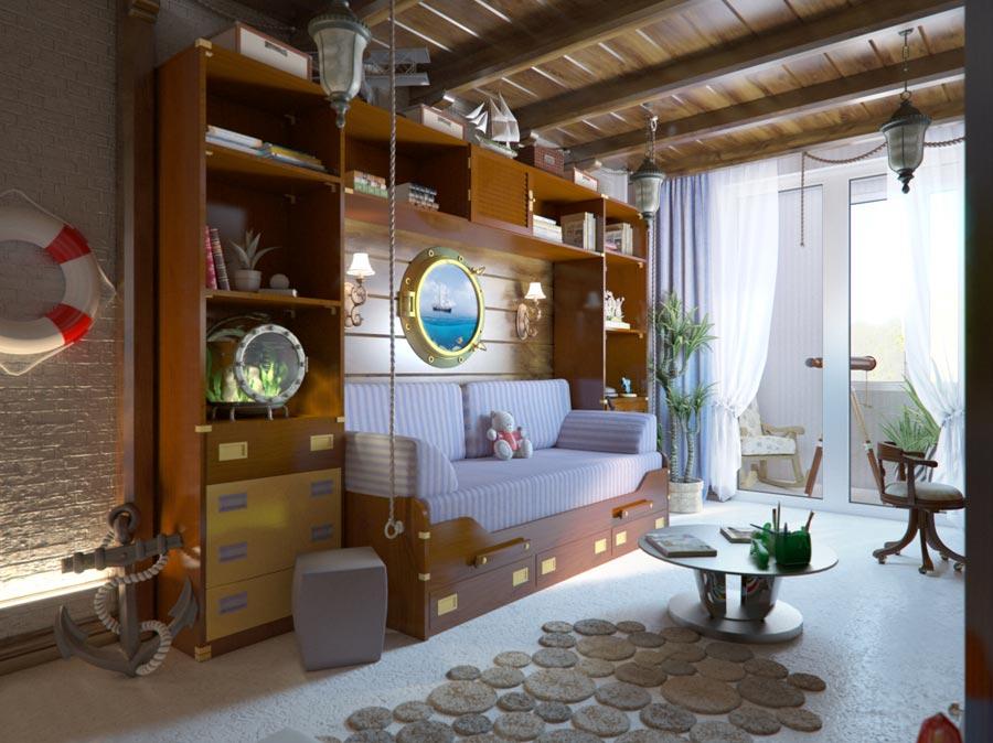Дизайн макет детской комнаты, для будущего яхт мэна