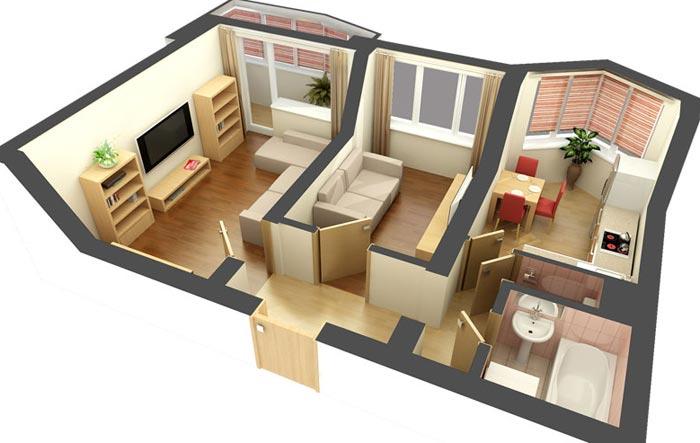 Проект дизайна двухкомнатной квартиры в хрущевке