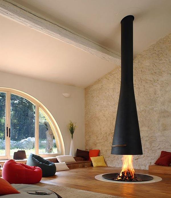 Дизайн гостиной комнаты с нестандартным камином