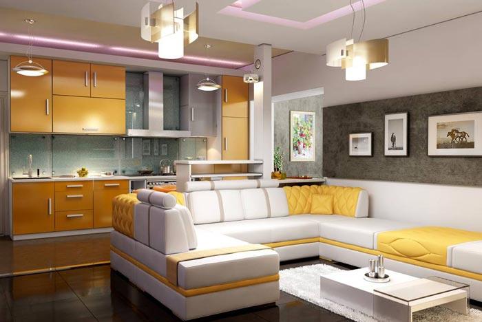 Интерьер кухни и гостиной