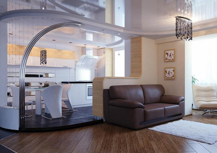 Дизайн кухни с подиумом