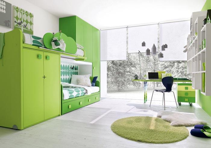 Дизайн интерьера детской в светлых и зеленых цветах