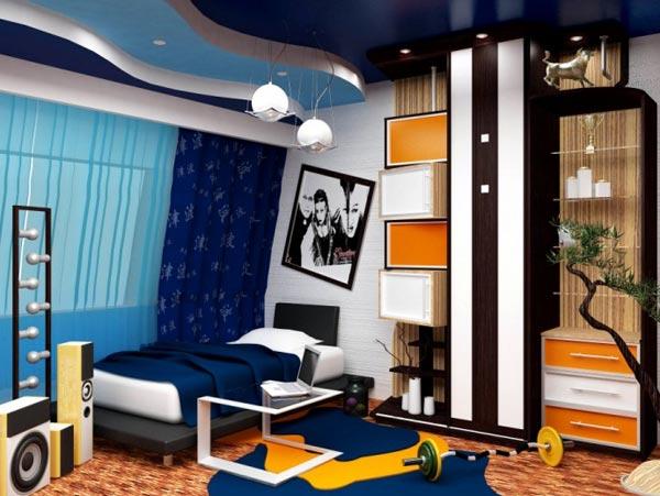Дизайн комнаты выполнен в синих тонах