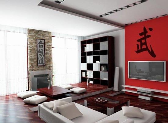 Яркие цвета в Японском дизайне комнаты