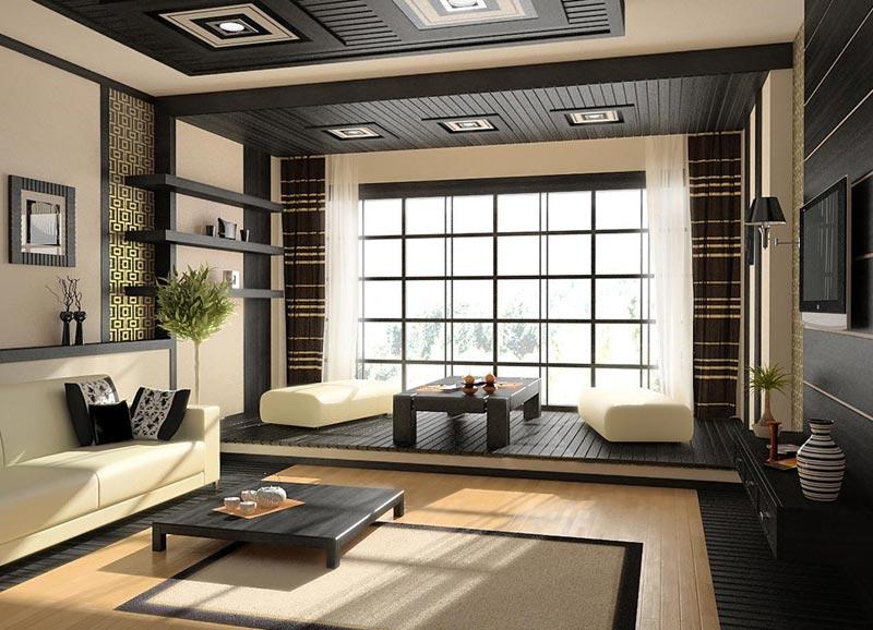Аксессуары в дизайне японского стиля помещения