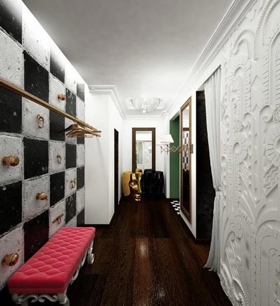 Дизайн длинного коридора с зонирование при помощи различной отделки