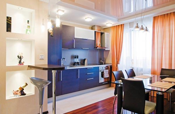 Интерьер кухни столовой в квартире