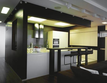 Дизайн современной кухни студии в квартире