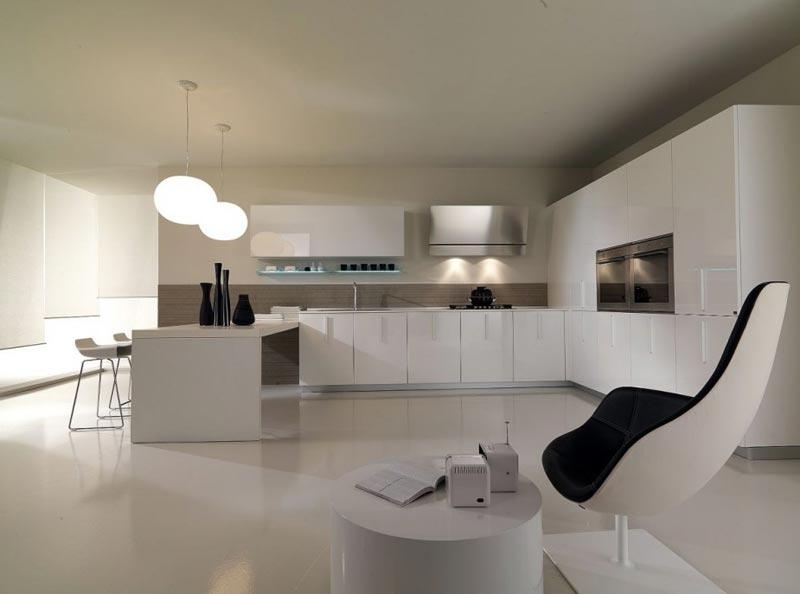 Модерн присутствует и в загородных кухнях