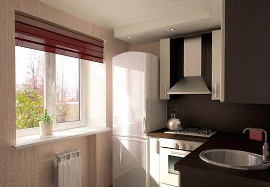 Дизайн кухнив хрущевке в черно-белых красках