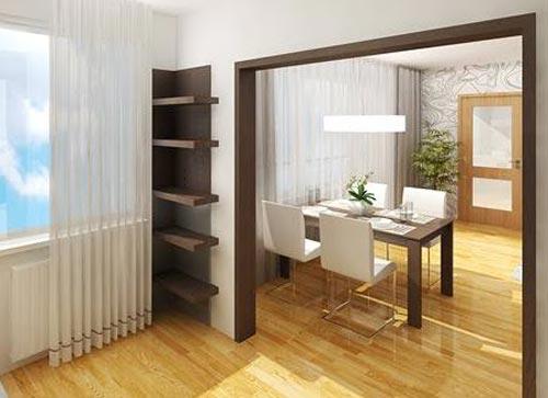 Объеденяем комнату и кухню, тем самым выигрывает пространство