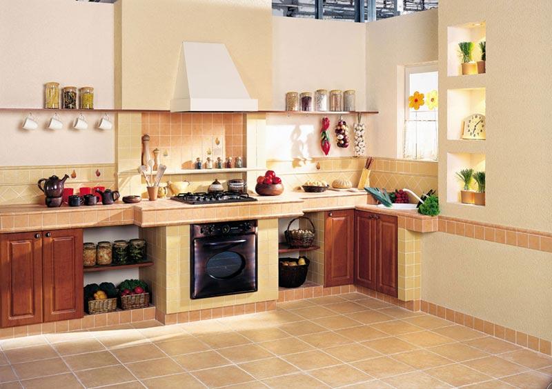 Дизайн кухни в квартире с применением плитки
