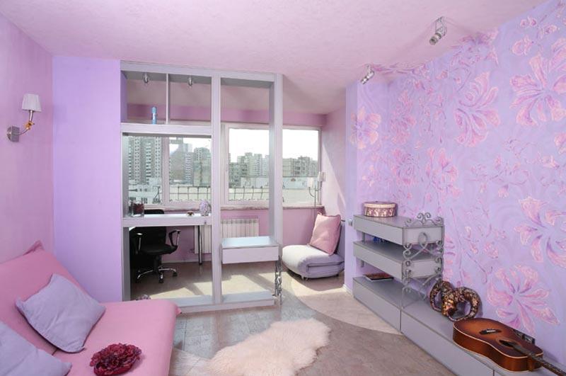 Дизайн объединенной комнаты выполнена в розовом цвете