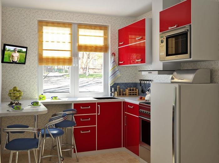 Не стандартный дизайн маленькой кухни в хрущевке