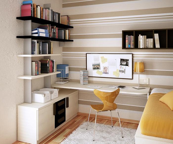 Кабинет в интерьере небольшой комнаты