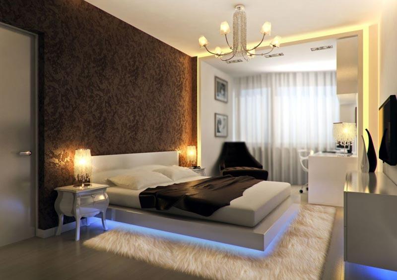 Коричневые обои в дизайне интерьера спальни