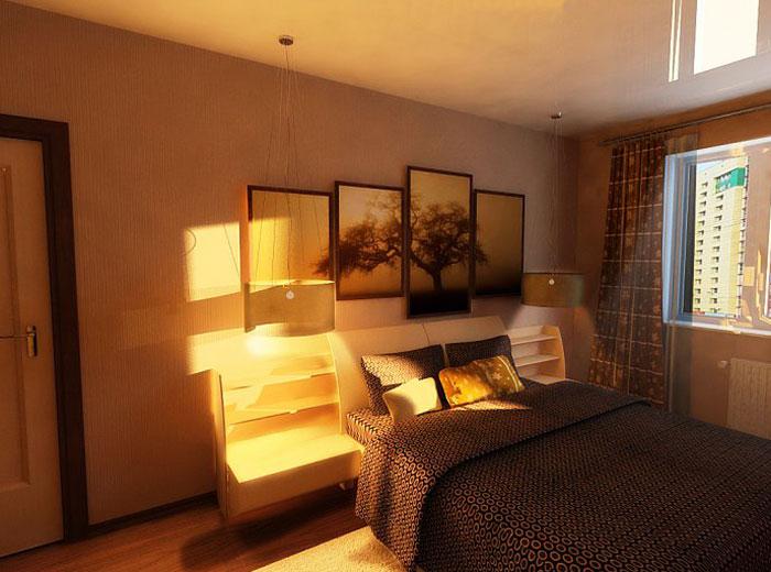 Дизайн спальной комнаты в большой квартире