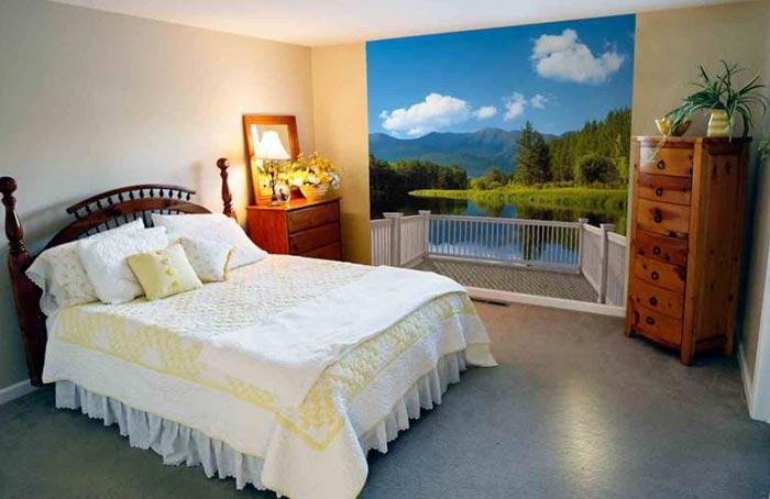 Дизайн спальни с видом на солнечный пляж