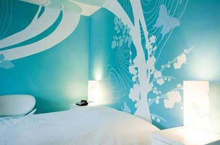 Дизайн голубых фото обоев в спальни