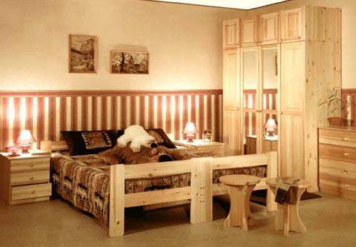 Дизайн спальни с мебелью из сосны