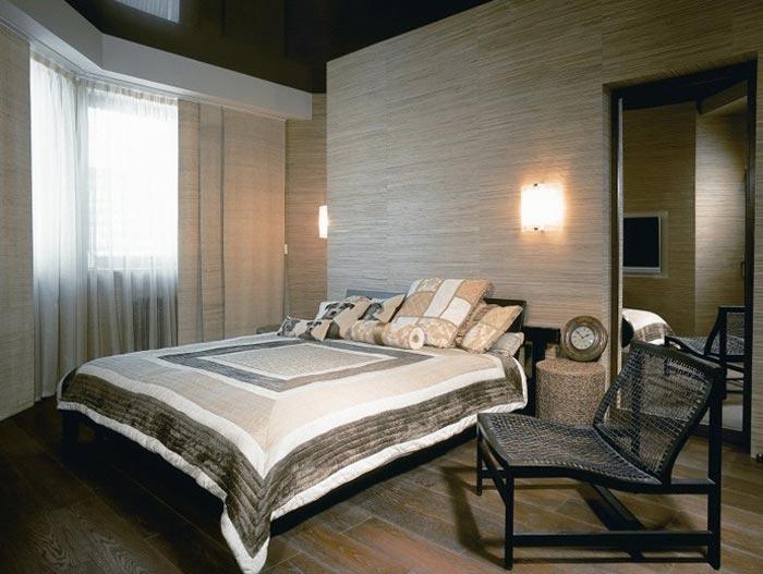 Дизайн современной спальни с обоями