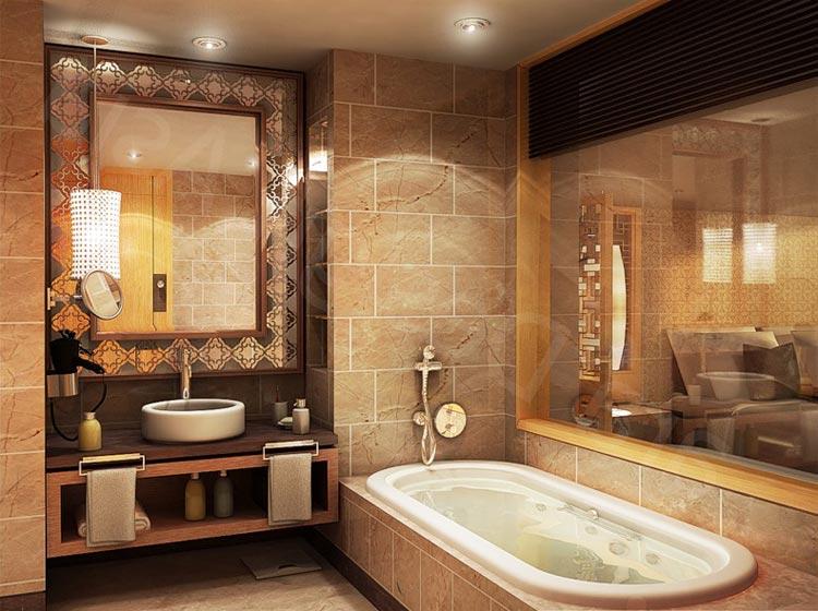 Дизайн ванной маленького размера с зеркалом