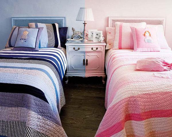 Использование разных цветов в дизайне комнаты для разнополых детей