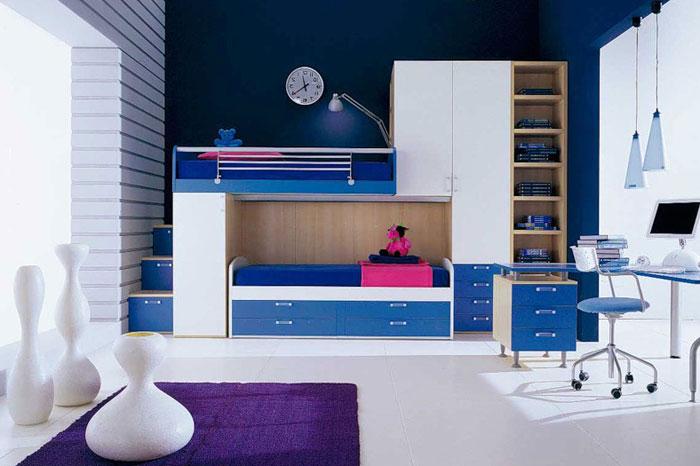 Дизайн комнаты с двухъярусной кроватью наполненную разнообразными ящичками