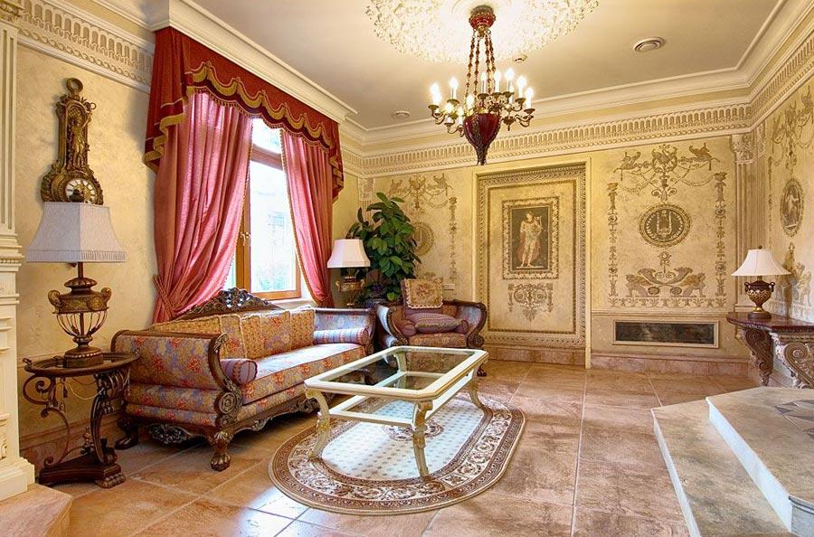 Интерьер выполнен в стиле 17в. в гостиной комнате