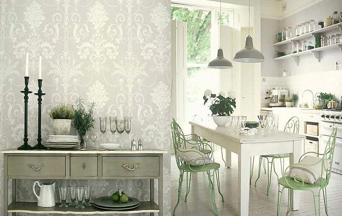 Обои под цвет кухонной мебели на кухне
