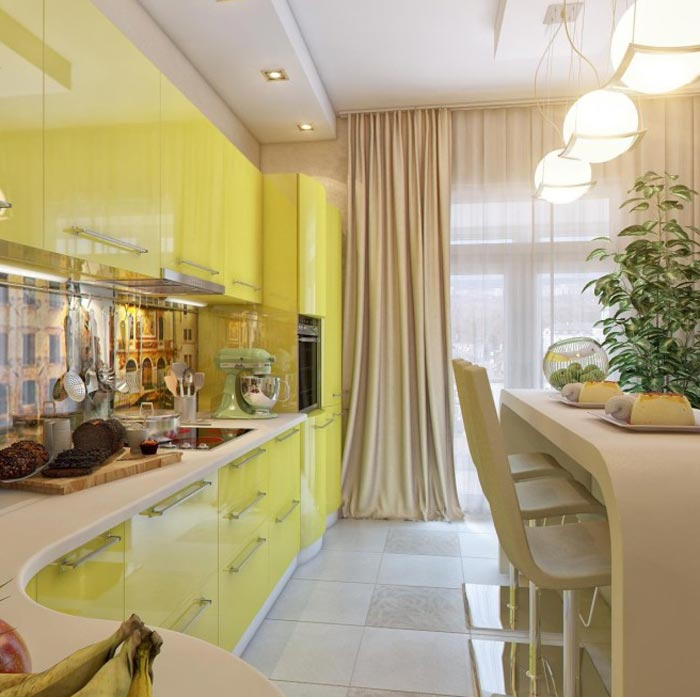 Дизайн небольшой гостиной с кухней