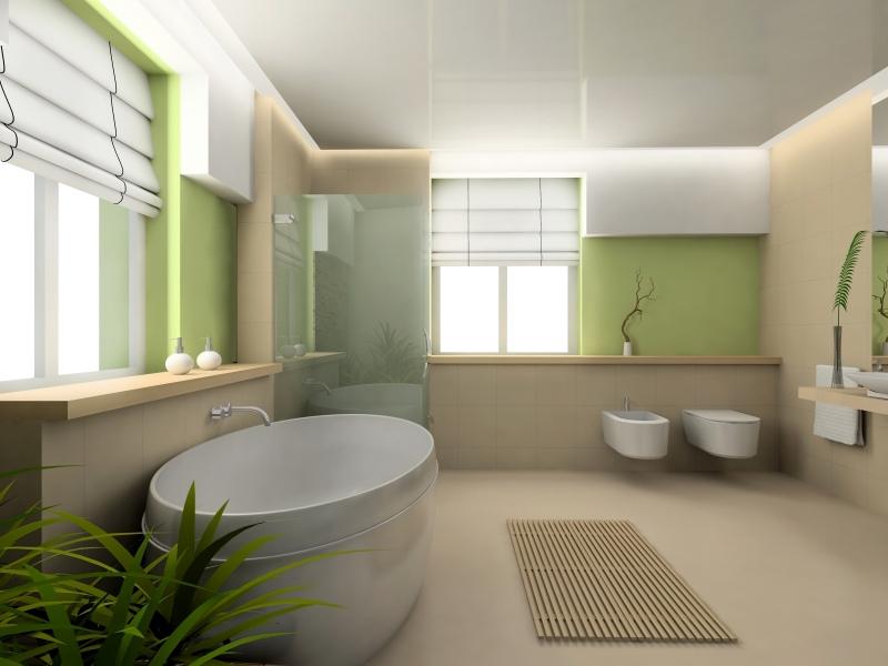 большая ванная комната спокойных тонов