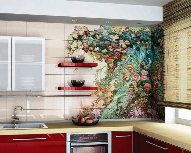 плитка с узором, плитка на кухню, необычная плитка, яркая плитка