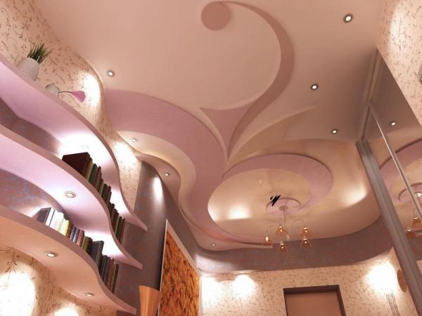гипсокартон на потолок, красивый потолок, шикарный потолок