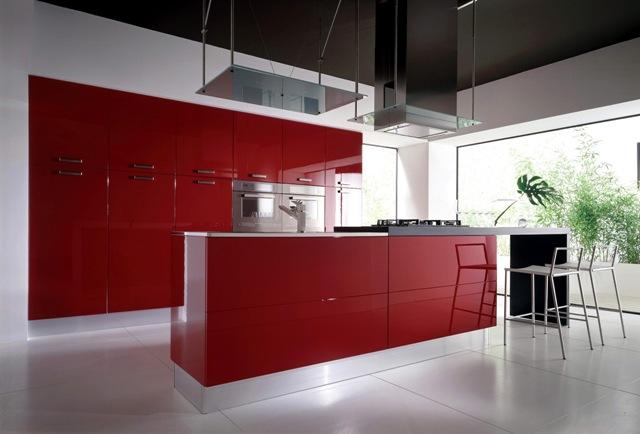 яркая кухня, кухня из пластика, кухня в стиле минимализма, кухня, кухонная мебель