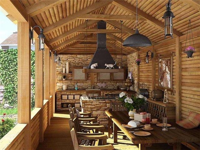 дачная кухня, открытая кухня, летняя кухня, деревенская кухня