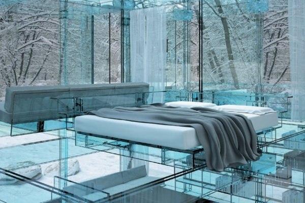 стеклянная мебель, дизайн спальни, интерьер, стекло в оформлении помещения, стеклянная кровать