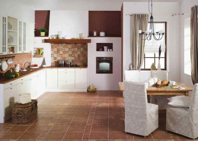 Дизайн-проект кухни-столовой с полом из керамогранита