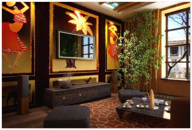 комната в африканском стиле, африканский стиль, африканский интерьер, низкая темная мебель, яркие стены, африканские узоры на стенах