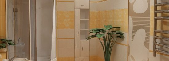 Ванная с душевой кабиной, раковиной и вертикальным шкафом белого цвета