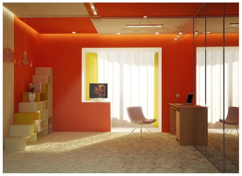комната в красных тонах с бежевыми предметами интерьера объединена с балконом