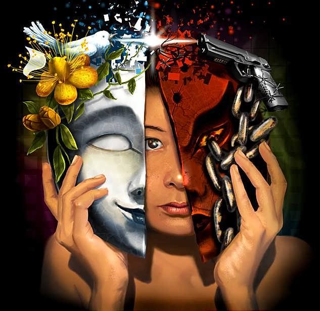 абстрактный рисунок девушки, прикладывающей к лицу разные маски