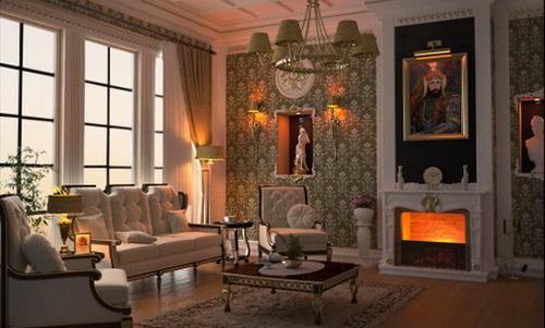 гостиная оформлена в классическом стиле с камином, картиной на стене, большими окнами