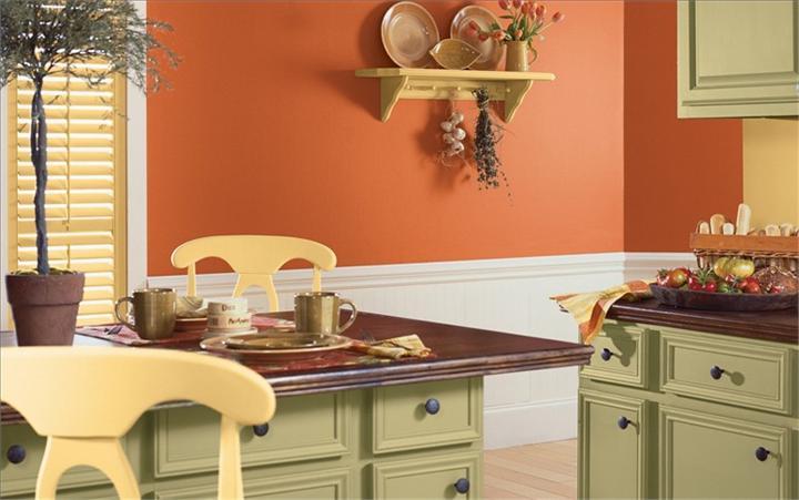 Яркие краски для отделки кухонных стен