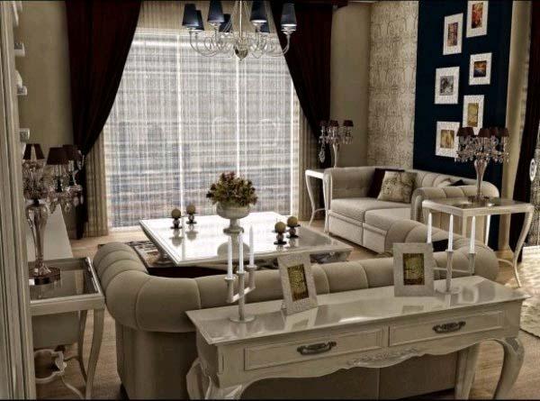 гостиная в винтажном стиле с бежево - черной цветовой гаммой