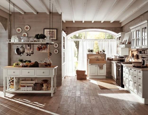 стиль кантри в просторной, светлой кухне