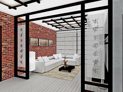 гостиная в японском стиле в светлых тонах с отделкой стены в виде искусственного кирпича