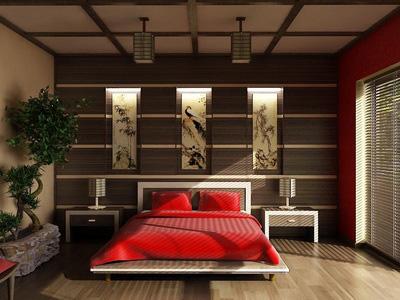спальня в японском стиле с красным покрывалом на кровате