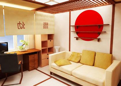 спальня в японском стиле, в бежевых тонах