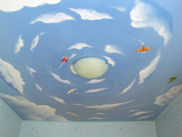 """Потолок """"голубое небо с белыми облаками"""""""